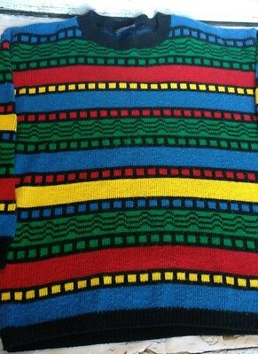 Ugly vintage colorful stripe geometric acrylic 80's sweater Made in USA