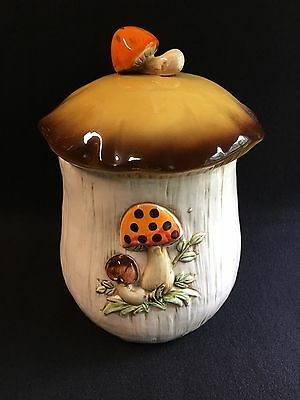 Merry Mushroom Large Canister Cookie Jar with Lid Sears Roebuck #8345 10 3/4""