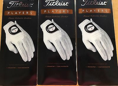 THREE (3) NEW Titleist PLAYERS Leather Golf Gloves, PICK SIZE, #1 Glove in Golf