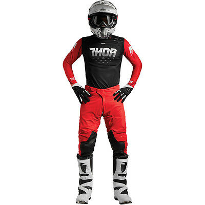 New 2018 Thor Mx Prime Rohl Pant Jersey Gear Combo Flo Red/black + Free Name