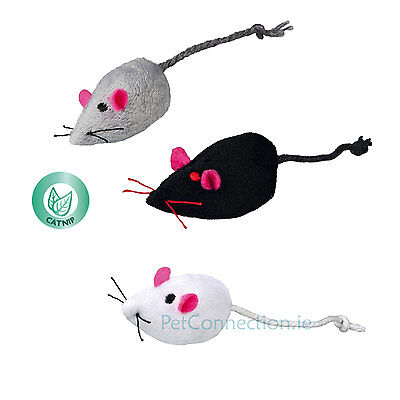Trixie Cat Kitten Toy Plush Catnip Soft Mouse Mice With Bell Pack of 3