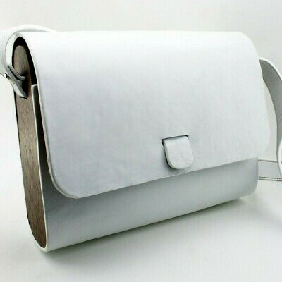 Up for order custom white leather bag with wood sidepieces handmade by Alinka
