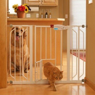 Carlson Extra Wide Walk Thru Brand  Gate Fence Door White with Pet Dog Cat