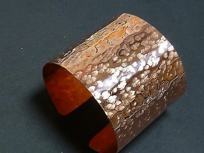 "Handmade Hammered Style 2"" Wide Heavy Copper Cuff Bracelet NWOT"