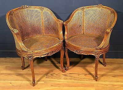 Antique pair mahogany French bergere chairs c.1900/20 #353