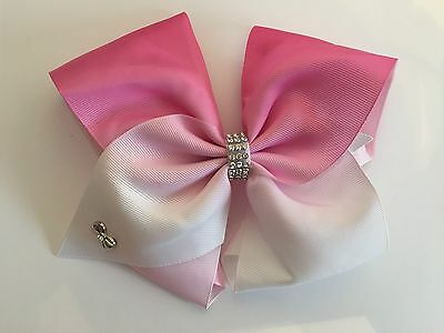 ***8 Inch Extra Large Girls Pink Ombre Hair Jojo Bow Alligator Clip**