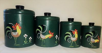 Vintage Ransburg Green Rooster Set of 4 Nesting Metal Canisters Hand Painted