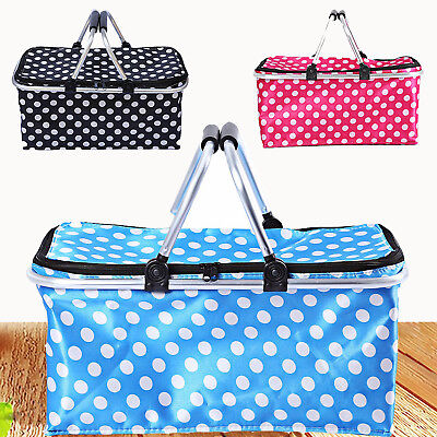 Portable Insulated Folding Picnic Camping Cooler Cool Hamper Basket Bag Box AU