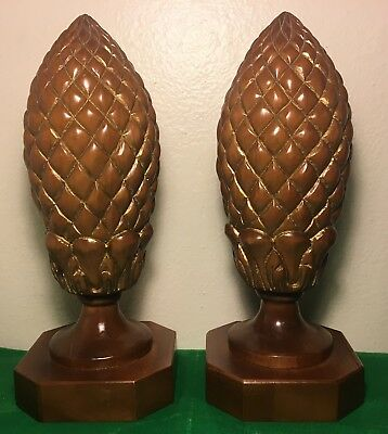 Large Wood Carved PINEAPPLE Finials Pair Architectural Pieces Unique Unusual