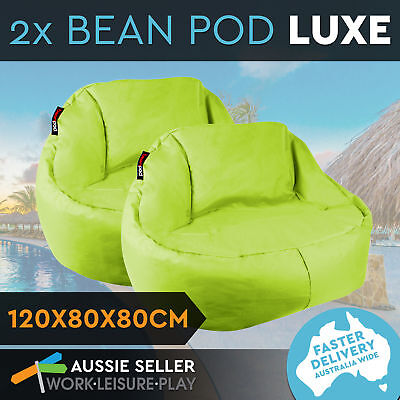 2x New Bean Bag Cover Couch Chair Waterproof Indoor Outdoor Beanbag Lounge Green