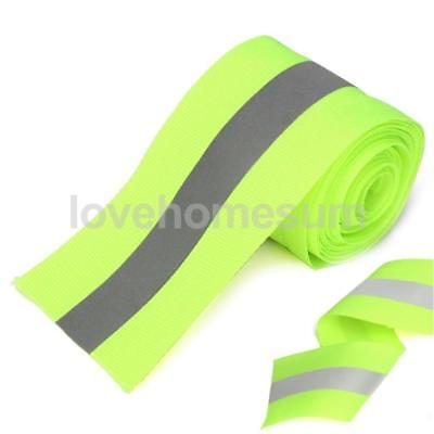 Silber Reflective Tape Safty Strip Sew On Lime Grün Synth Fabric 3Meter