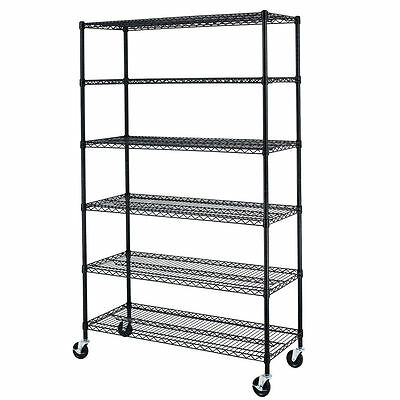 "Black 72""x48""x18"" Wire Metal Shelving Rack 6 Tier Adjustable Commercial Shelf 86"