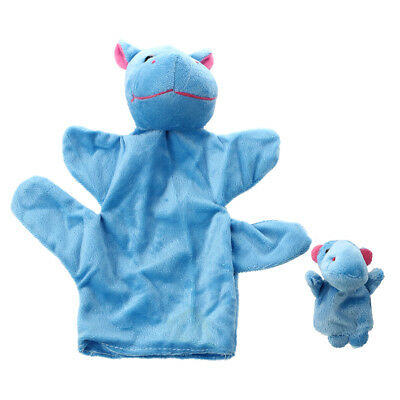Hippo Hand Puppet Finger Puppet Set Funny Toy---Blue H4F7