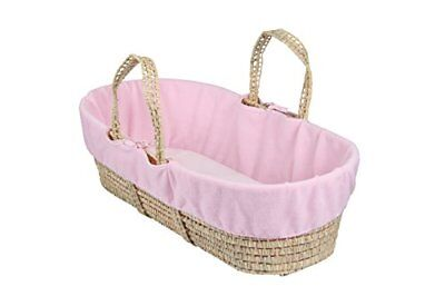 Clair de Lune Fleece Liner Dressing for Moses Wicker Basket  Pink