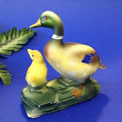 Very Vintage -Early 50s Japan - Cold Painted Porcelain Duck & Duckling Ornament