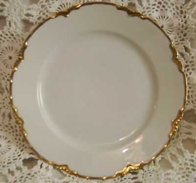"O & E G Royal Austria Gold White 8.75"" Plates Scalloped Edge Ranson"