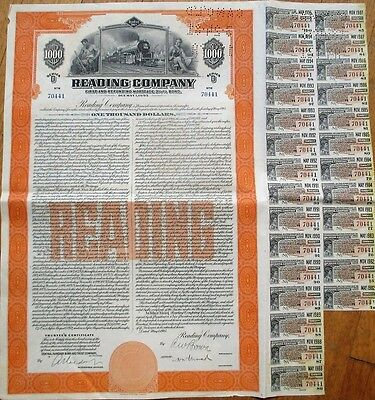 Reading Company 1945 Vertical Railroad Bond Certificate w/27 Coupons - PA