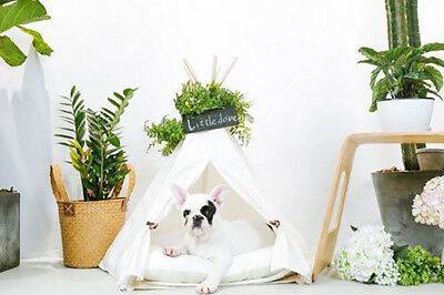 White Pet Teepee House Cat Tents House Bed For Small Dogs And Cats(with Cushion)