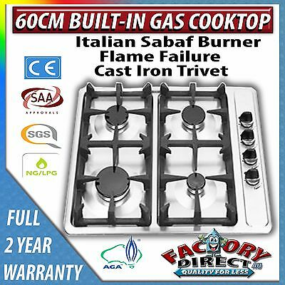 60cm Stainless Steel 4 Burner Gas Cooktop with Cast Iron Trivets NG/LPG RRP$589
