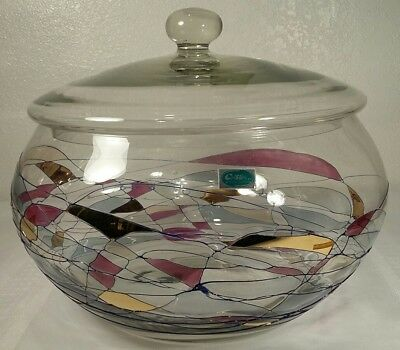 "Stained Glass Cristiro Romania Mosaic Swirl Hand Blown Large 10 3/4"" Bowl W/Lid"