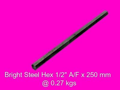 "Steel Hex  1/2"" A/F x 250 mm-Lengths-Lathe-Mill-Steam-OG"