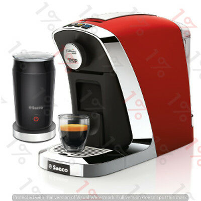 Map Caffitaly Saeco Bravista Espresso Coffee Capsule Machine Milk Frother RED