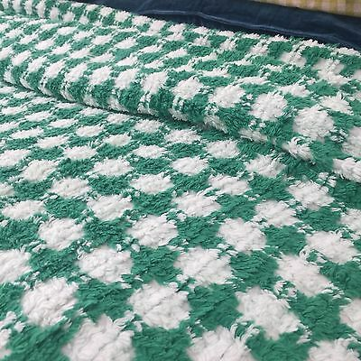 SHABBY Chic VINTAGE Candlewick CHENILLE Bedspread FABRIC Green & White