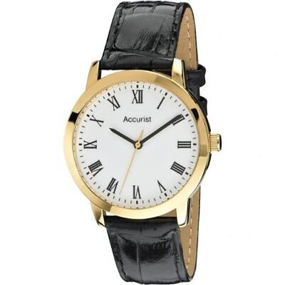 Accurist Men s Quartz Watch with White Dial Analogue Display and Black Leather S
