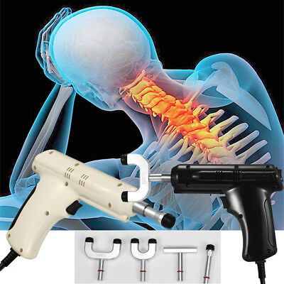 Electric Chiropractic Adjusting Tool Therapy Spine Correction Massager + 4 Heads