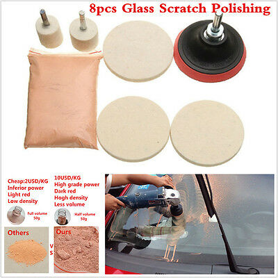 8Pcs Car Windshield Front/Rear Window Glass Polishing Scratch Removal Repair Kit