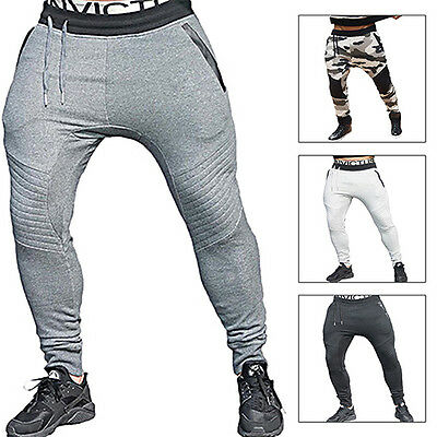 Mens Trackies Slacks Track Pants Tracksuits Bottoms Gym Sports Skinny Joggers