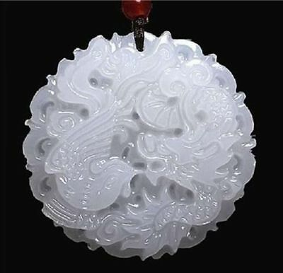100% natural hand-carved Chinese jade pendant dragon Phoenix