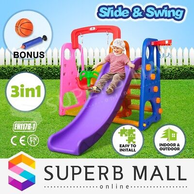 3 in 1 Swing and Slide Basketball Play Activity Center Colorful Kids Outdoor Fun