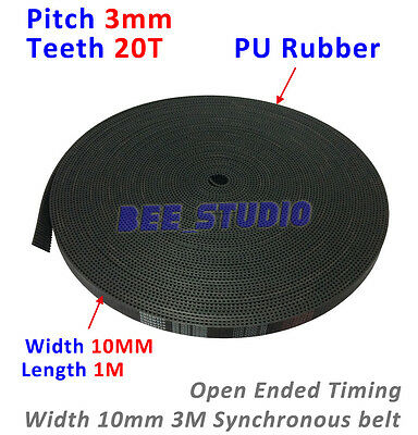 HTD 3M Open Ended Timing Belt PU Rubber Synchronous Pitch 3mm Belt Width 10mm