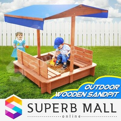 Kids Outdoor Wooden Sandpit Sandbox Canopy Bench Play Toy Sand Pit Large Seat