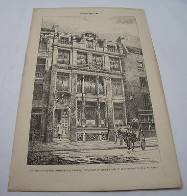 THE COMMERCIAL BANK OF SYDNEY 1887 Antique 19th Century Architecture Australian