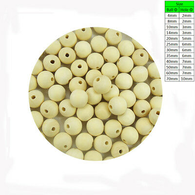 Natural Wooden Craft Wood Balls Beads Sphere with Hole Carpentry Dia 4mm to 70mm