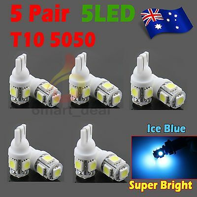10x T10 5 SMD 5050 194 168 Car LED Light Bulb Wedge Tail Side Auto Ice Blue Lamp