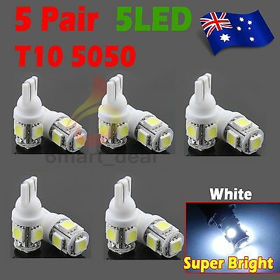 10x T10 LED 5SMD 5050 White 194 168 Car Light Bulb Lamp Wedge Tail Side Auto 12V