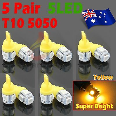 10x T10 194 168 5SMD 5050 LED Car Wedge Tail Side Parking Light Globe 12V Yellow