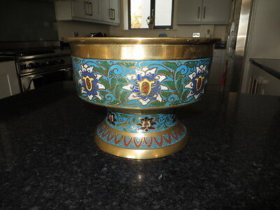 Chinese Cloisonne Jardiniere with scrolling Lotus flowers, Beautiful and Unusual