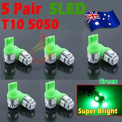 10x Green T10 5 SMD W5W 194 168 Dash Wedge Parker Stop Side Tail LED Light Bulbs