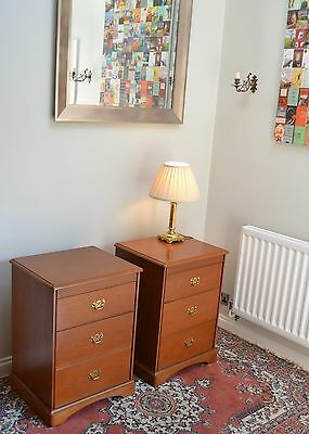 Handsome PAIR Antique Style Light Cherry Wood Stag Bedside Lamp Chests Cabinets