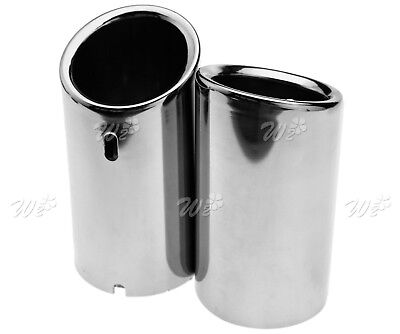 Pair of Stainless Steel Exhaust Tailpipe Trim Tip Fit For VW SCIROCCO 2008-2014