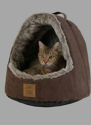House of Paws Faux Suede Arctic Hooded Cat Bed 16 inches
