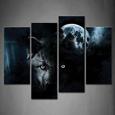 Posters & Prints Panel Wall Art Black Wolf Full Moon Painting The Picture Print