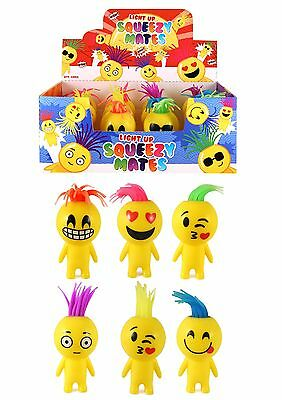 2 6 or 12 Flashing Squeeze Man Smile Face LARGE 10cm Kids Adults Fun Stress Toy