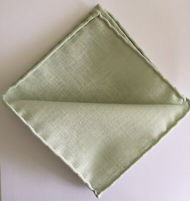 Luxury Hand-Rolled-Hem Linen Pocket Square Light Green - Handmade in UK