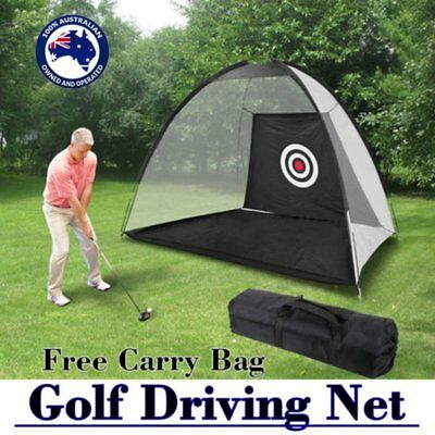 Golf Practice Driving Hit Net Cage Training Mat Aid Driver Irons w/ Free Bag