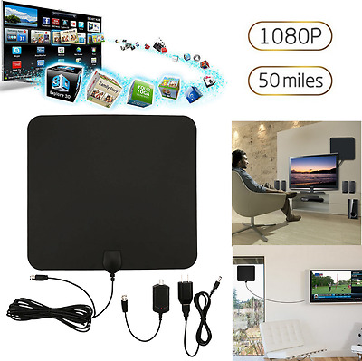 Digital HDTV Indoor Freeview Antenna with TV Aerial Amplifier 50 Mile Range Thin